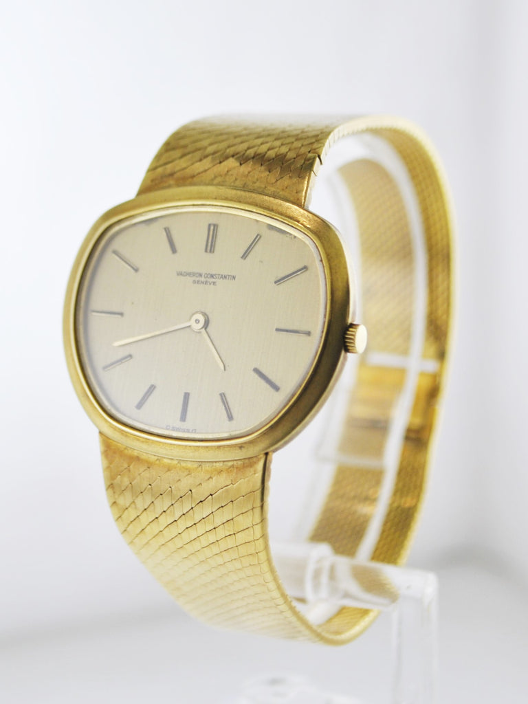 1940's Vacheron Constantin Unusual Thin Wristwatch Asymmetrical Case in 18 Karat Yellow Gold on Original Strap - $30K VALUE