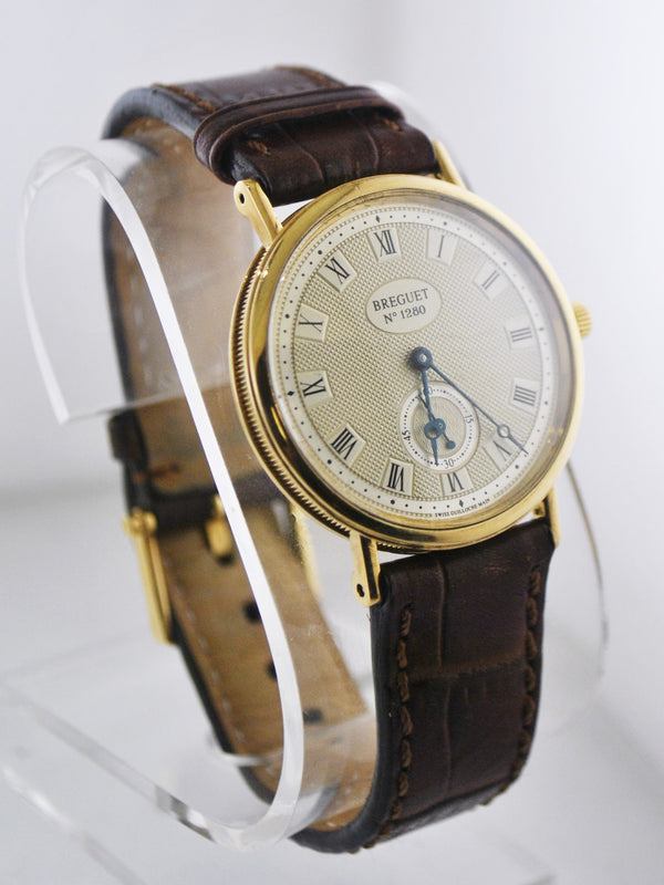 BREGUET Rare #1280 18K Yellow Gold Silver Dial Wristwatch w/ Skeleton Back - $35K VALUE