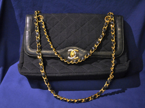 Circa 1980's Vintage Chanel Bag Black Fabric & Leather Textile Purse Two-Tone CC Lock - $6K VALUE