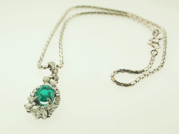 Vintage Designer Asymmetrical 2+ Carat Emerald & Diamond Pendant Necklace in White Gold - $45K VALUE