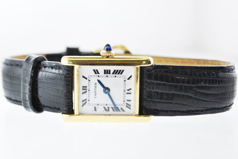 Cartier Tank Mechanic Small Wristwatch Rectangle in 18K Yellow Gold - $20K VALUE
