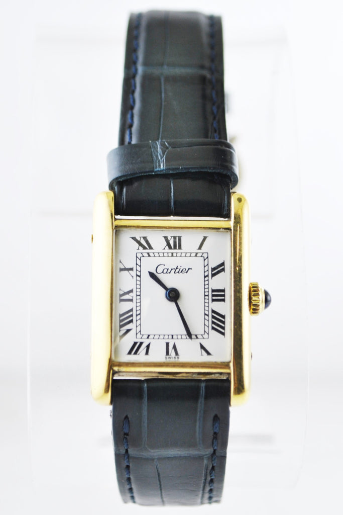Cartier Tank Mechanic Wristwatch Rectangle Triple Signed in 18K Yellow Gold on Original Strap - $20K VALUE