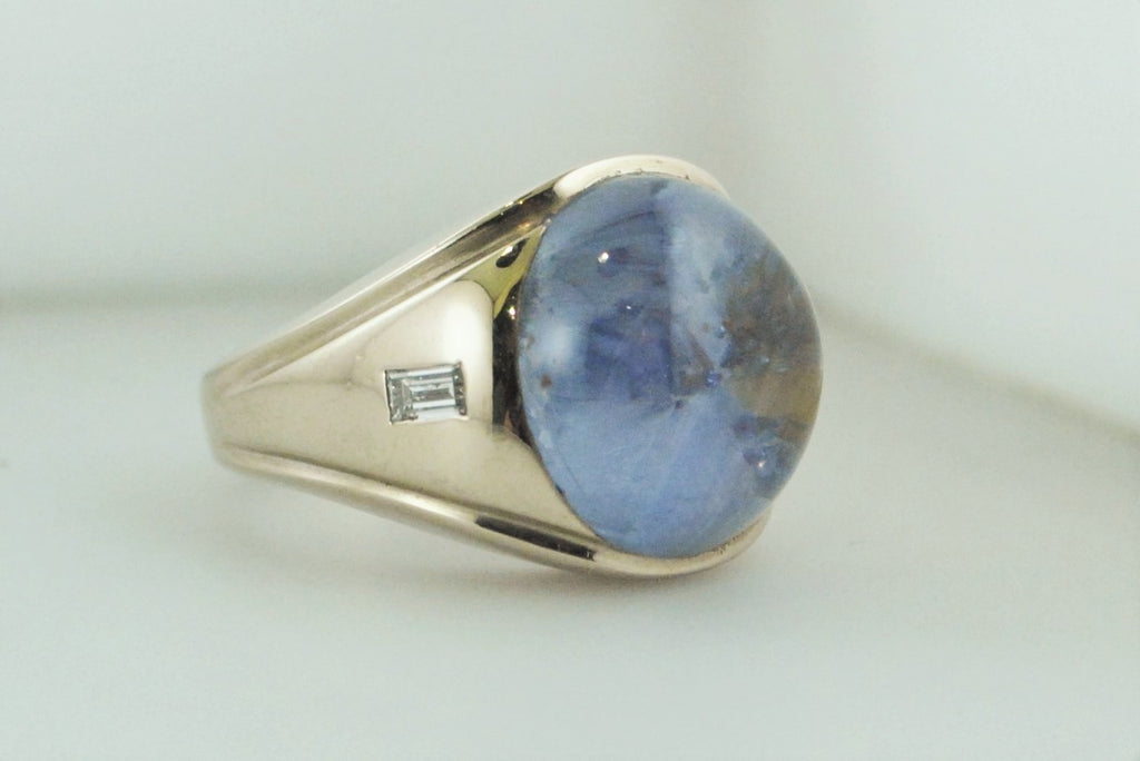 Contemporary Star Sapphire & Diamond Ring in White Gold Extremely Rare w/COA $32K VALUE