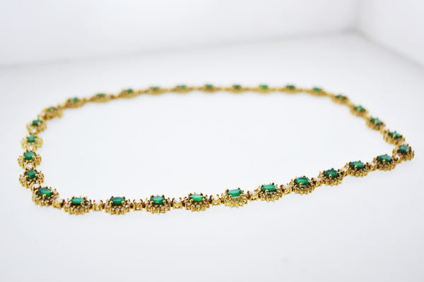 Designer Handmade Emerald Diamond Necklace +27 Cts TCW Set Floral Design in 18 Karat Yellow Gold - $60K VALUE