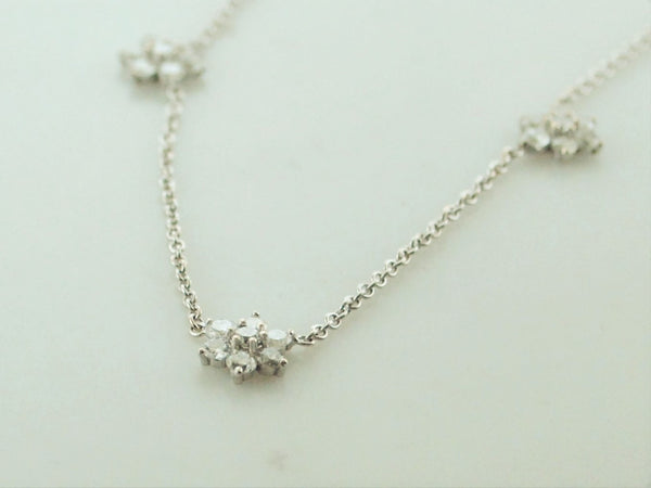 Contemporary Chopard Style Three Flower Diamond Necklace Appr. 1.3 Cts. TCW White Gold $10K VALUE