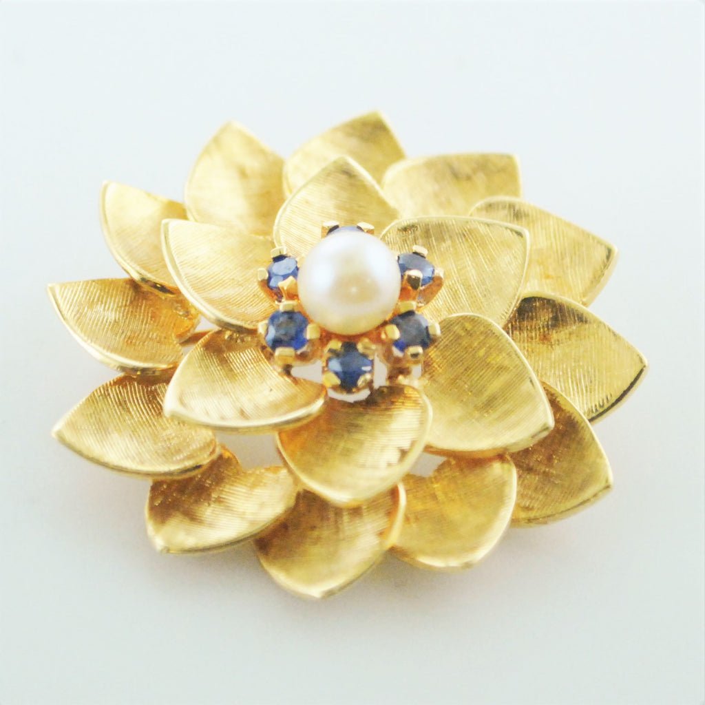 61531aa78ce6e 1960's Vintage ALA Flower Brooch Tiffany's Style Yellow Gold Pearl and  Sapphire Pin - $8K VALUE