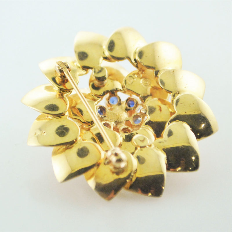 1960's Vintage ALA Flower Brooch Tiffany's Style Yellow Gold Pearl and Sapphire Pin - $8K VALUE