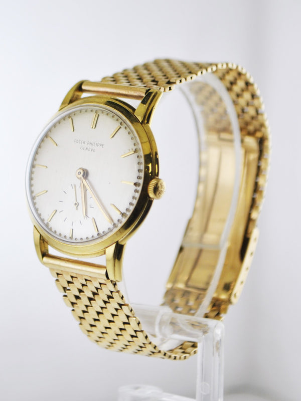 1950's Patek Philippe Wristwatch Classic Case on Brick Style Bracelet in Solid Yellow Gold - $30K VALUE