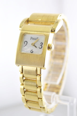 Contemporary Piaget Lady's Miss Protocole Wristwatch with Shell Dial & Original Bracelet in 18K Yellow Gold - $25K VALUE