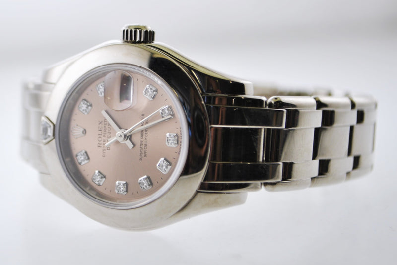 Rolex Datejust Lady's Wristwatch Diamond Dial Date on Pearlmaster Bracelet in 18 Karat White Gold - $30K VALUE