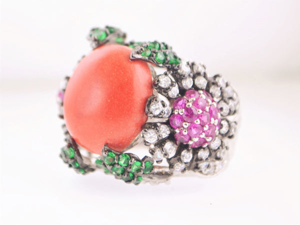 Vintage Style Designer Floral Silver Ring with 133 Stones in Emerald, Ruby & Zircon - $5K VALUE