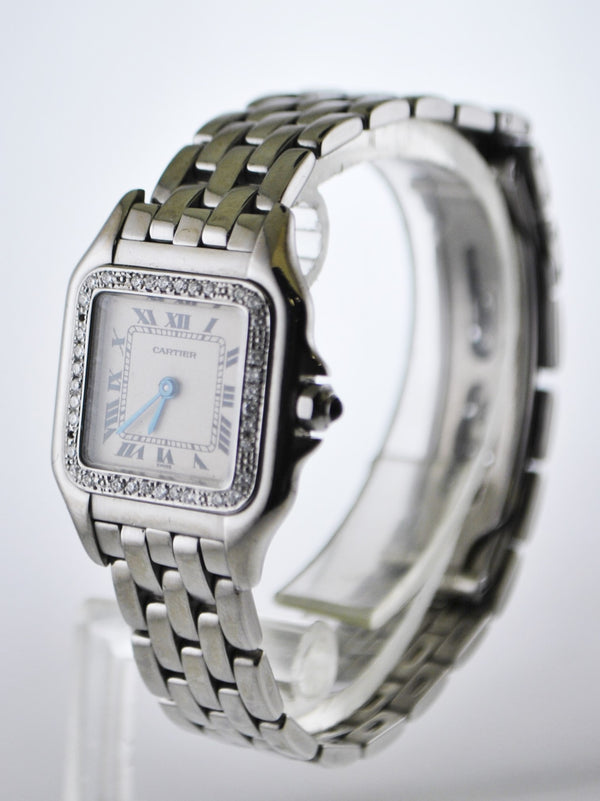 Cartier Panthere #1320 Diamond Bezel Small Square Wristwatch Quartz in Stainless Steel - $20K VALUE