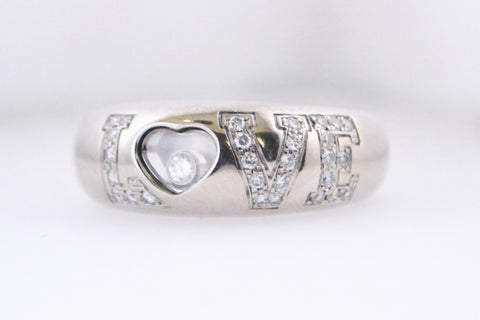 Contemporary Chopard Happy Collection Love Diamond Ring in 18K White Gold - $15K VALUE