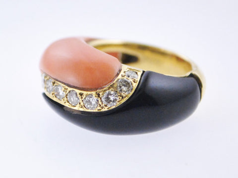 Contemporary Designer Cocktail Ring Diamonds Black Onyx & Pink Coral Dome 18K Yellow Gold $15K VALUE