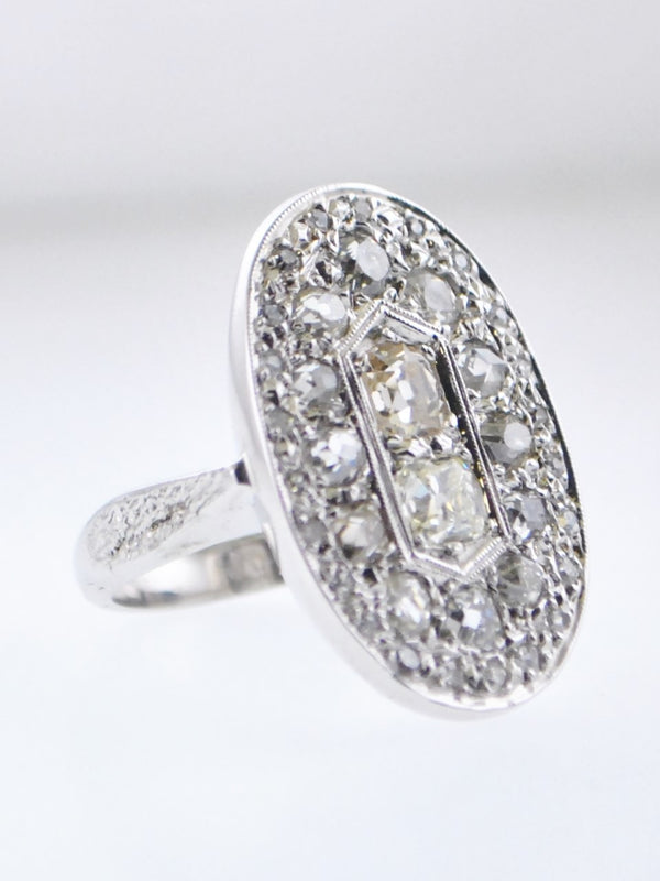 1920s Art Deco Designer Diamond Oval Top Cocktail Ring in White Gold with 3 Carats of Diamonds - $20K VALUE