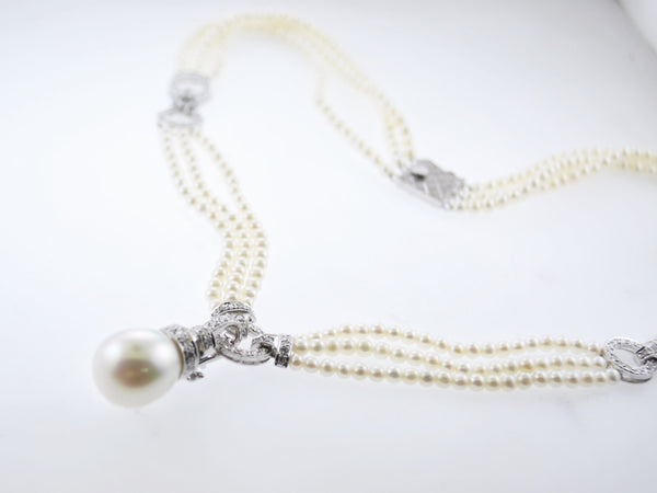 Vintage Art Deco Triple-Strand Freshwater 13 mm Pearl Necklace on 18K White Gold w/ 115 Diamonds - $20K VALUE
