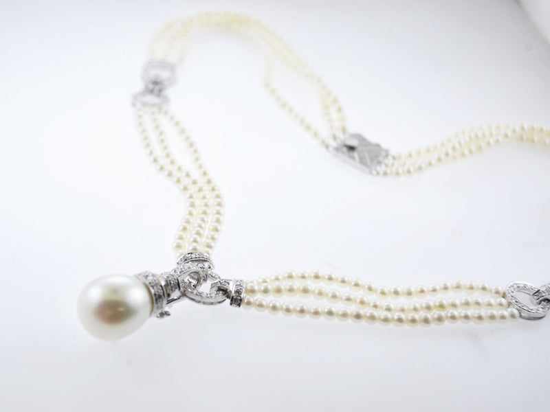 Vintage Art Deco Triple-Strand Freshwater 13 mm Pearl Necklace with Appr. 115 Diamonds in 18K White Gold - $20K VALUE