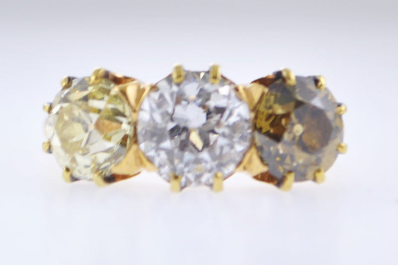Lady's Antique 3 Stone Diamond Ring in Yellow Gold UGL Certified +3.60 TCW - $55.9K VALUE