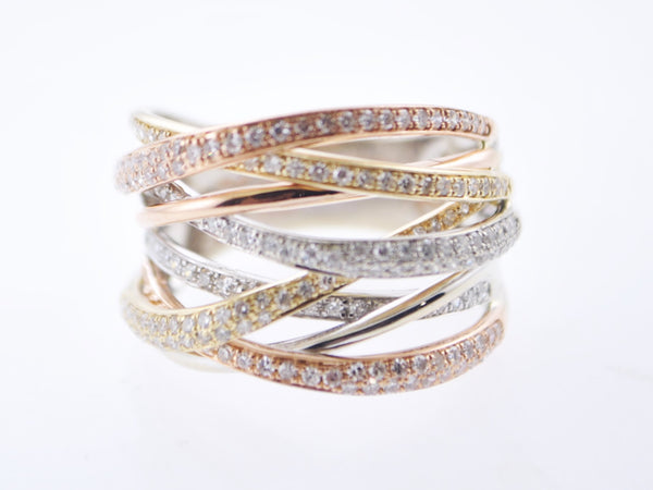 Contemporary Designer Fashion Pavé Diamond Rope Ring/Band in Rose, White & Yellow Gold - $10K VALUE