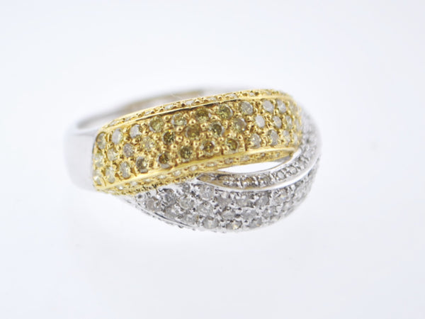 Contemporary Designer Fashion Pavé Diamond Ring Rope Band in White & Yellow Gold +1.3 TCW - $10K VALUE