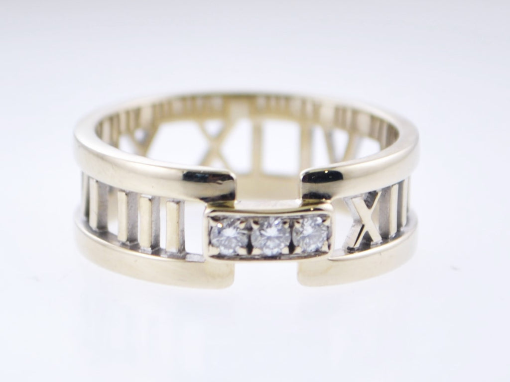 2003 Tiffany Co Roman Numerals Ring Band With Diamonds In 18k