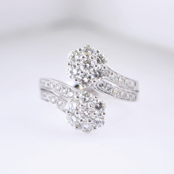 Contemporary Diamond Ring Fashion Cocktail Dress Ring 18K White Gold +1 Ct. TCW $15K VALUE