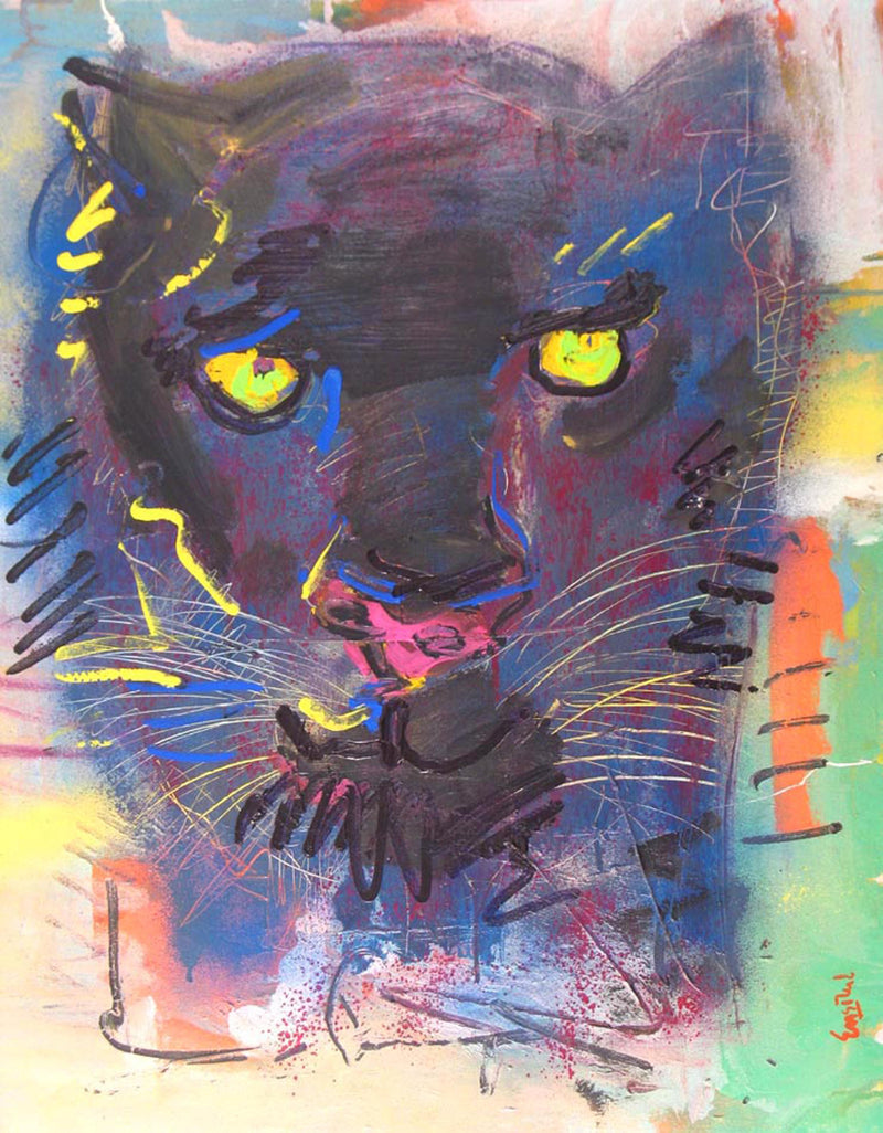 "WAYNE ENSRUD ""Black Panther With Green Eyes"" Acrylic on Canvas, 1997"