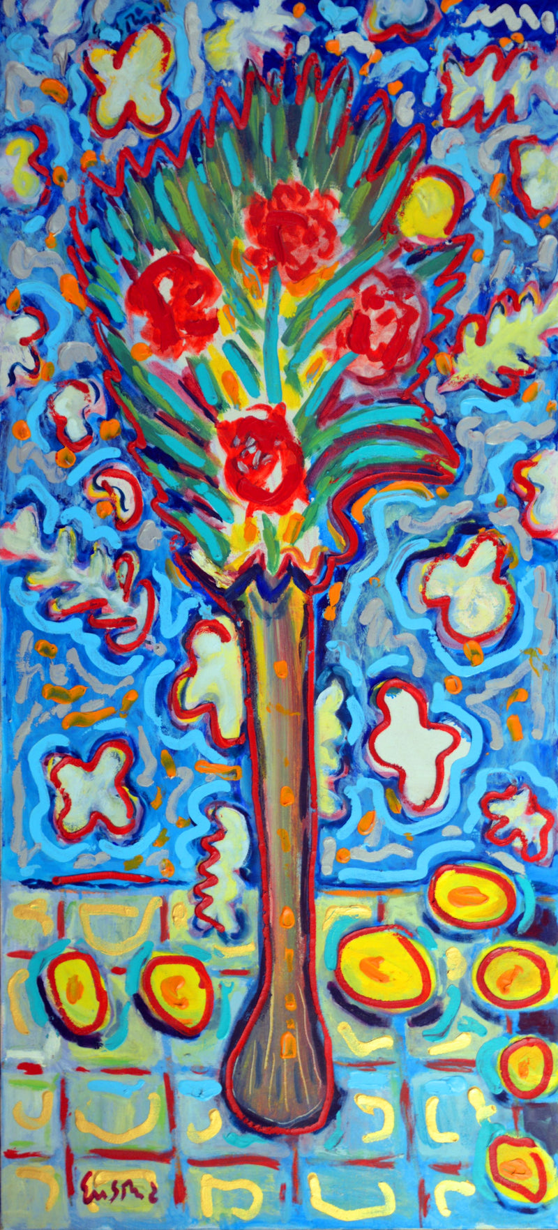 "WAYNE ENSRUD ""Elongated Vase Floral"" Acrylic on Canvas, C. 1988"