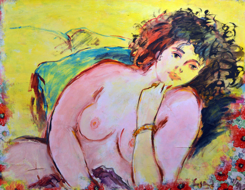 "WAYNE ENSRUD ""Woman on a Yellow Background"" Acrylic on Canvas, C. 1988"
