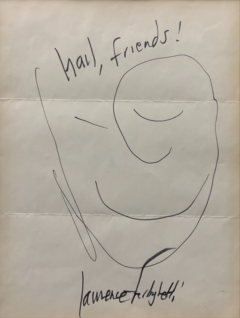 Lawrence Ferlinghetti, 'Hail, Friends!', Original Black Ink on Paper Drawing, 1970 - Appraisal Value: $10K*