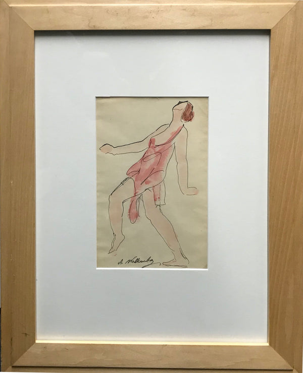 Abraham Walkowitz, Watercolor Ink Drawing of Isadora Duncan, Signed. Appraisal Value: $5K *