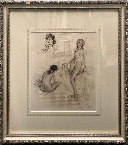 """Women in the Bath House"" by Édouard Chimot Original 1920 Drypoint with Aquatint"