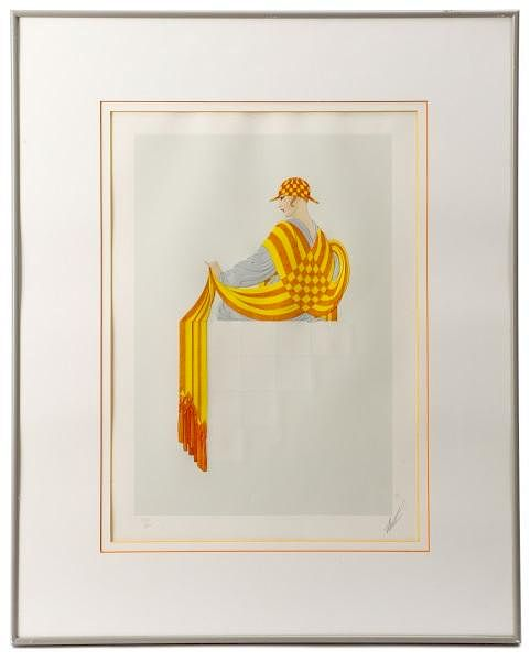 "ERTE ""Resting"" Beautiful Deco-Inspired Embossed Limited Edition Print: 145 of 300, 1981. Appraisal Value: $15K*"