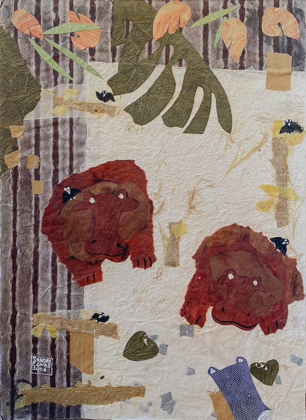 Sandrine Comas, 'Hippos,' Mixed Media on Museum Board, 2006 - Appraisal Value: $1.6K!