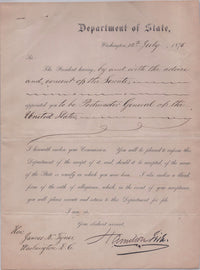 Official Letter of Appointment to Postmaster General from Secretary of State Hamilton Fish to James N. Tyner - $10K VALUE