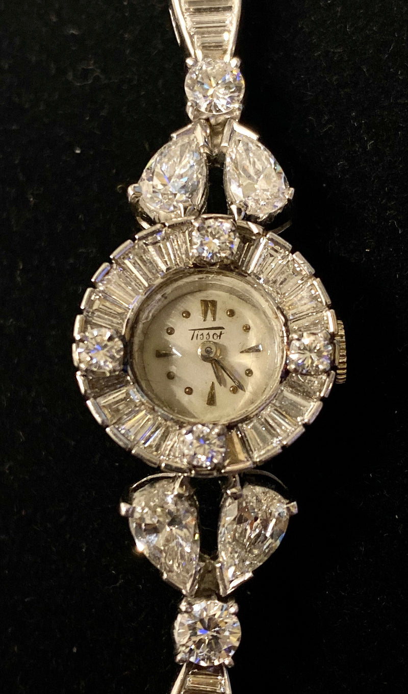 TISSOT Platinum Wristwatch w/ 91 Diamonds Vintage Circa 1920's!  - $65K Appraisal Value!  ✓