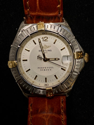 BREITLING 1884 Perpetuel Sirius Ref. #3652 in Gold/Steel w/ Date Feature!  - $6K Appraisal Value!