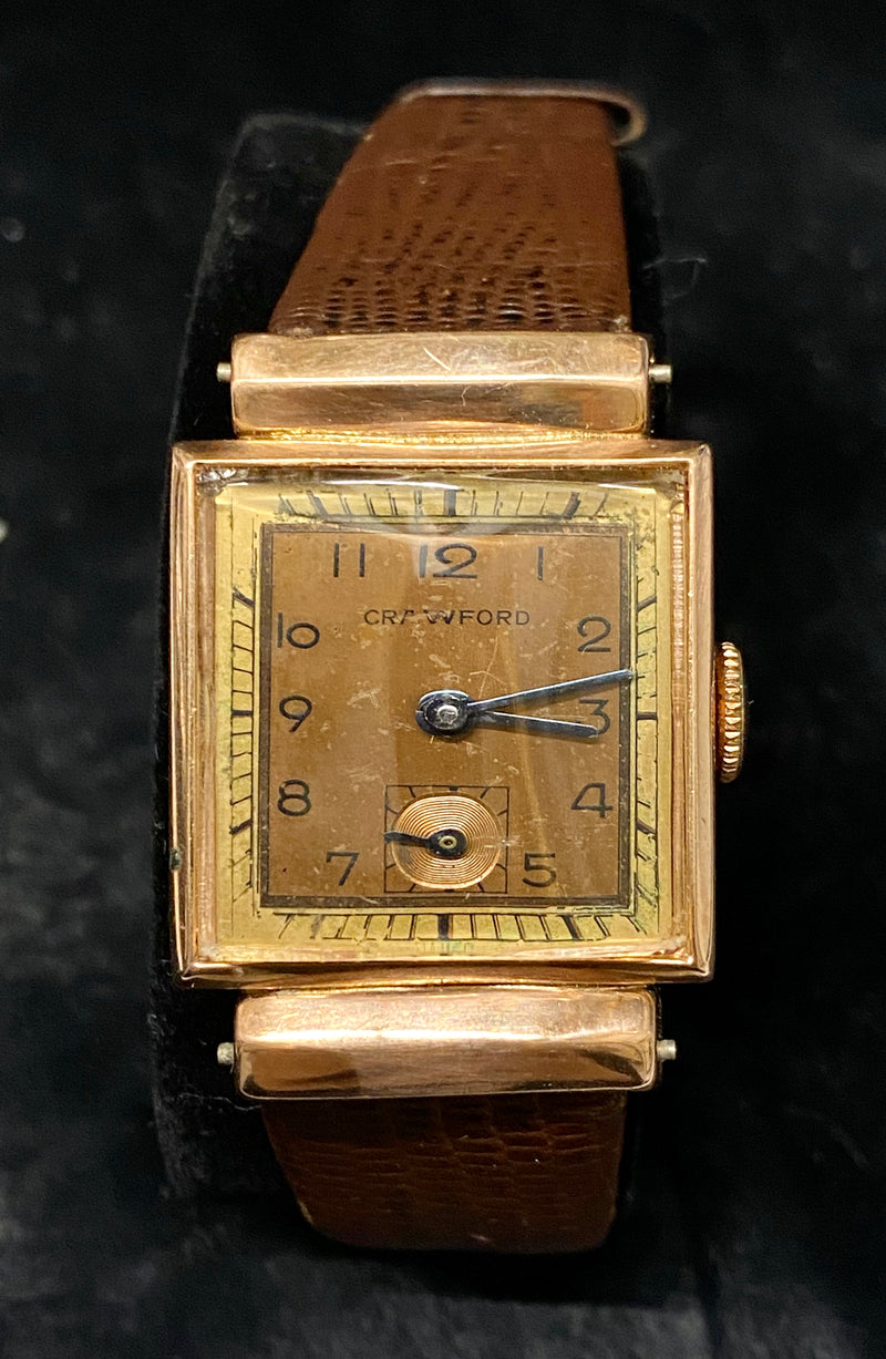 CRAWFORD Vintage 1940's Rose Gold Wristwatch with Hooded Lugs & Subdial - $8K Appraisal Value! ✓