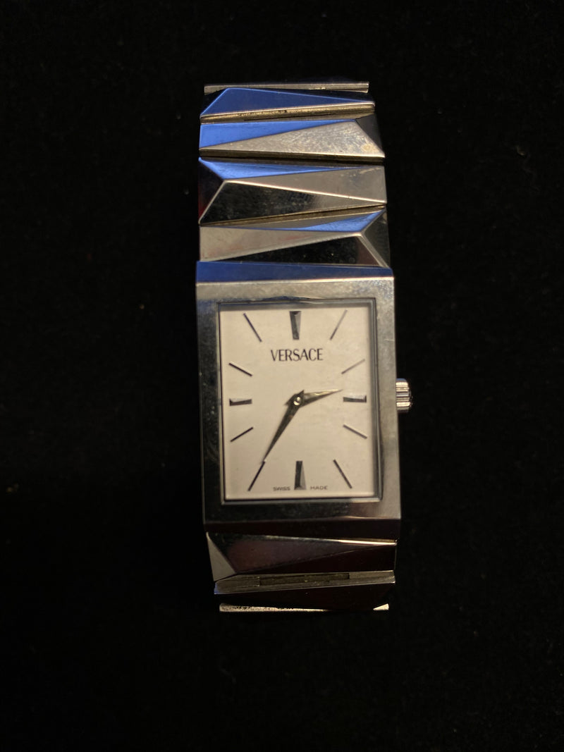 VERSACE Rare Art-Deco Style Stainless Steel Rectangular Unisex Wristwatch - $6K Appraisal Value! ✓