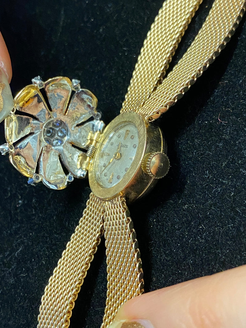 LE COULTRE Vintage C 1940s 14K Yellow Gold Floral-Design Ladies Wristwatch w/ 15 Diamonds! - $20K Appraisal Value! ✓