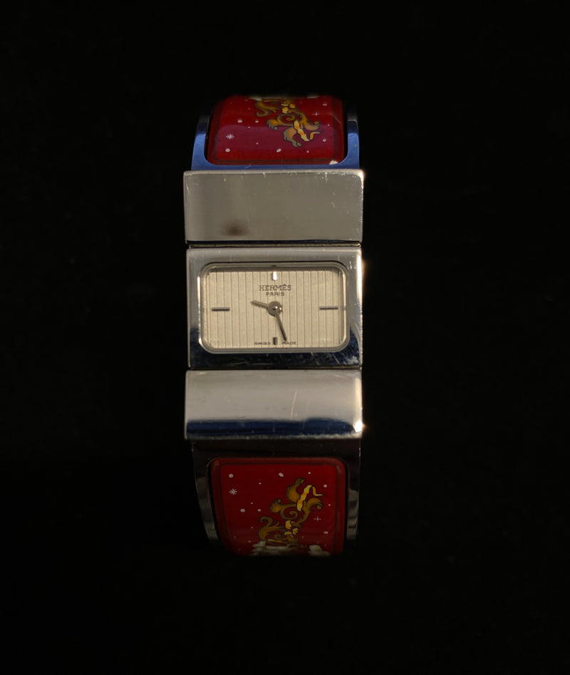 HERMES Red Enamel Printed Horse Loquet Horse & Chariot Cuff Wristwatch - $6K Appraisal Value! ✓