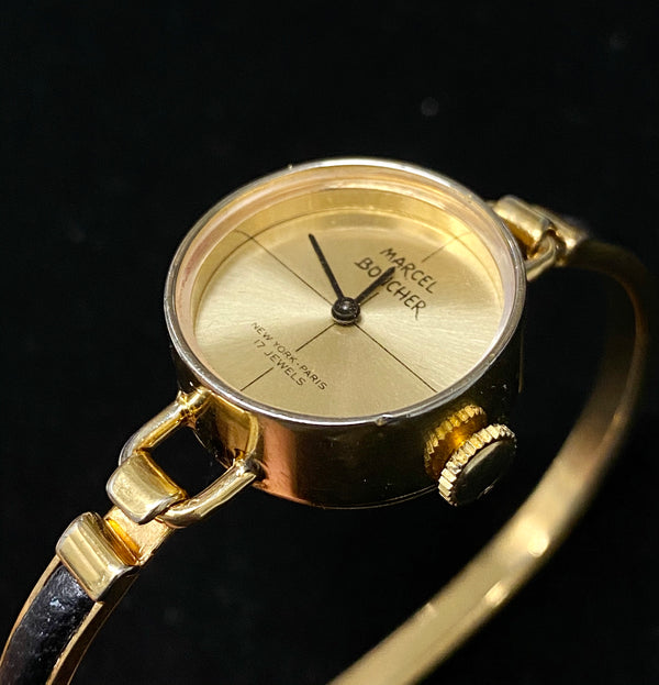 MARCEL BOUCHER Incredible Vintage 1970's Ladies Rose Gold-tone Bangle Watch - $3K Appraisal Value! ✓