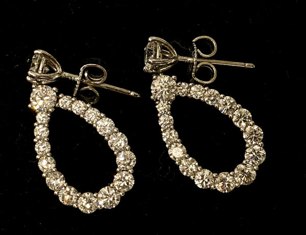 HARRY WINSTON Beautiful Diamond Loop Platinum Earrings w/ 34 Diamonds! - $18.1K Appraisal Value!