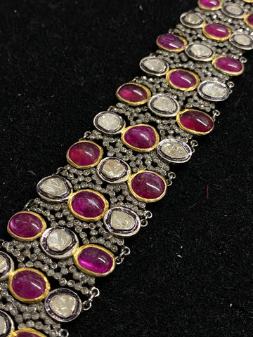 Beautiful Antique Design Large Diamond and Ruby Bracelet in Silver & Gold - $60K Appraisal Value!