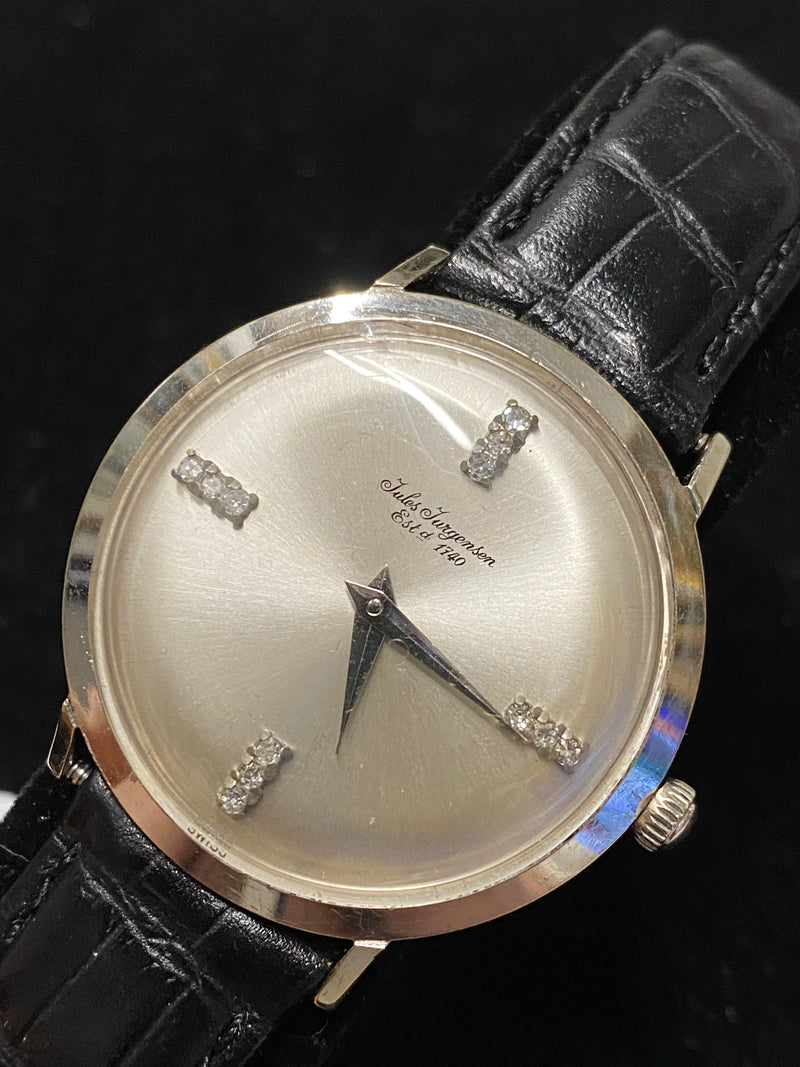 JULES JURGENSEN White Gold Tone Unisex Watch w/ Special 12 Diamond Dial - $8K Appraisal Value! ✓