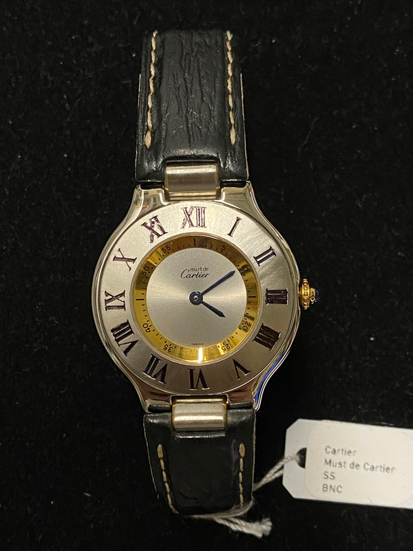 CARTIER Must de Cartier Two-Tone SS & YG Tone Ladies Watch - $7K Appraisal Value! ✓