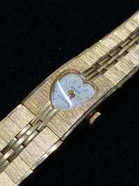 JENEVE Textured Yellow Gold Tone Ladies Watch w/ Heart Shaped Dial - $4K Appraisal Value! ✓