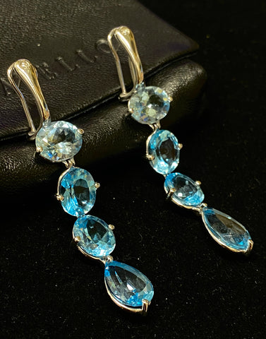 GAVELLO Beautiful Topaz Aquamarine Dangling Earrings 18K White Gold w/ 2 Diamonds! - $6K Appraisal Value!