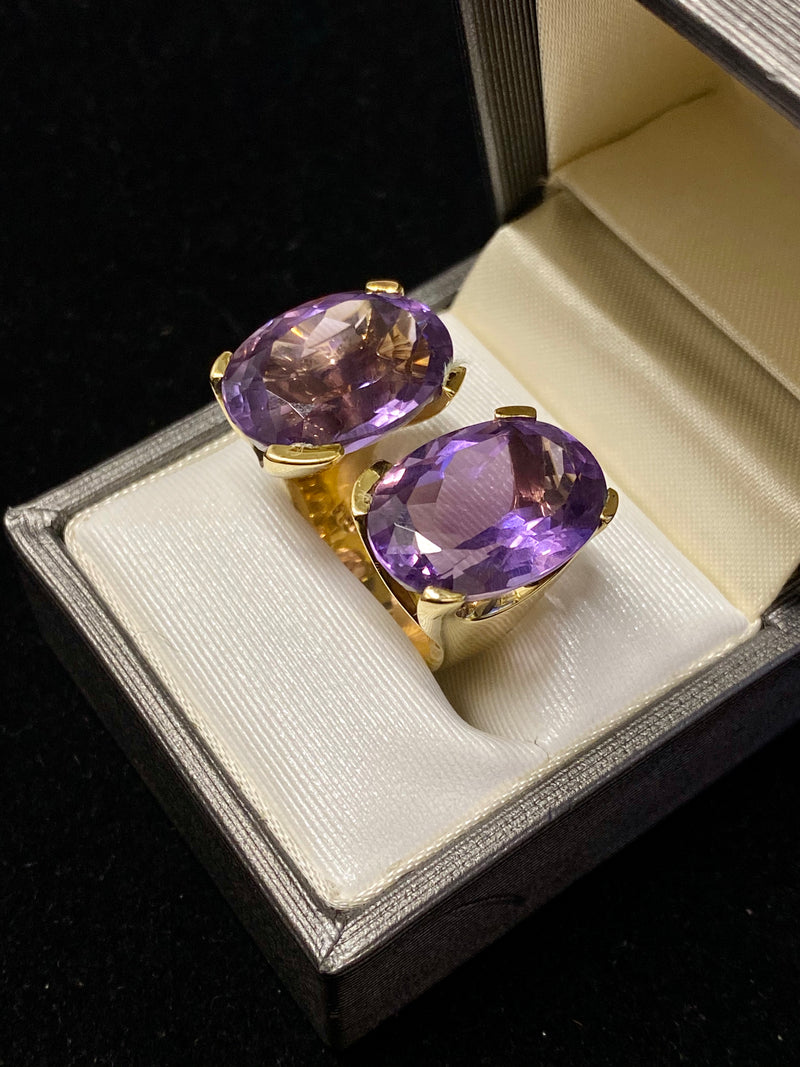 Gavello Designer 30ct Purple Amethyst 18K Yellow Gold Ring - $10K Appraisal Value!*