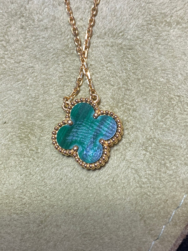 VAN CLEEF & ARPELS Vintage Alhambra Pendant 18K Yellow Gold & Malachite - $5K Appraisal Value!